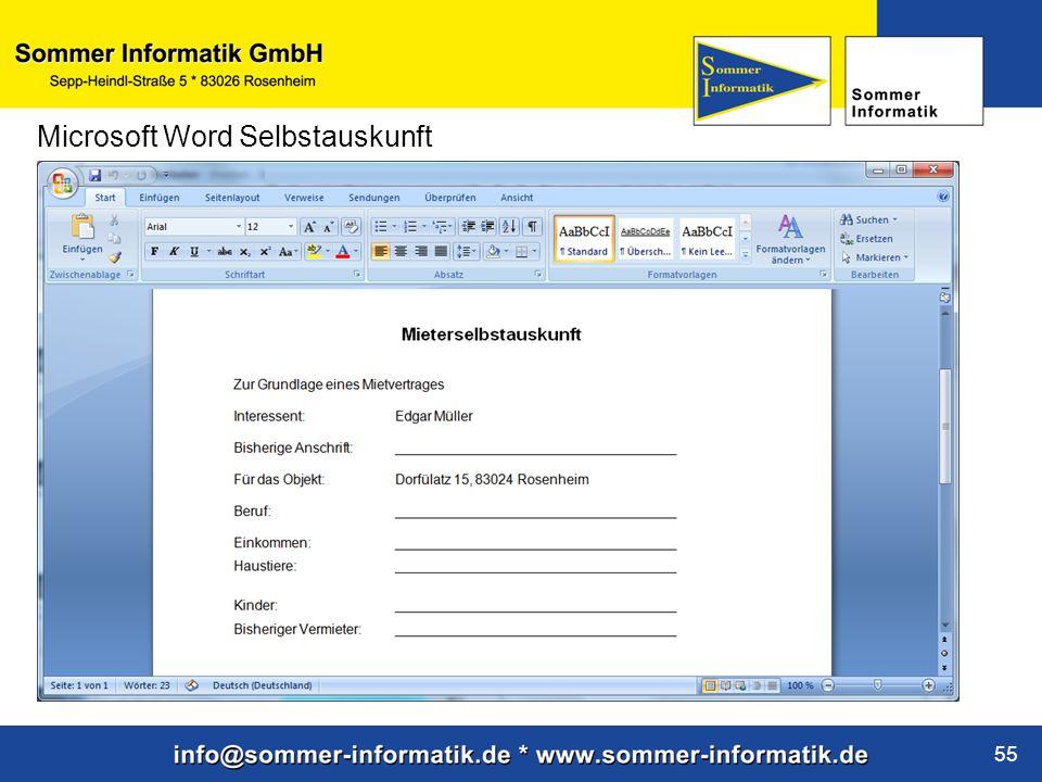 Microsoft Word Selbstauskunft
