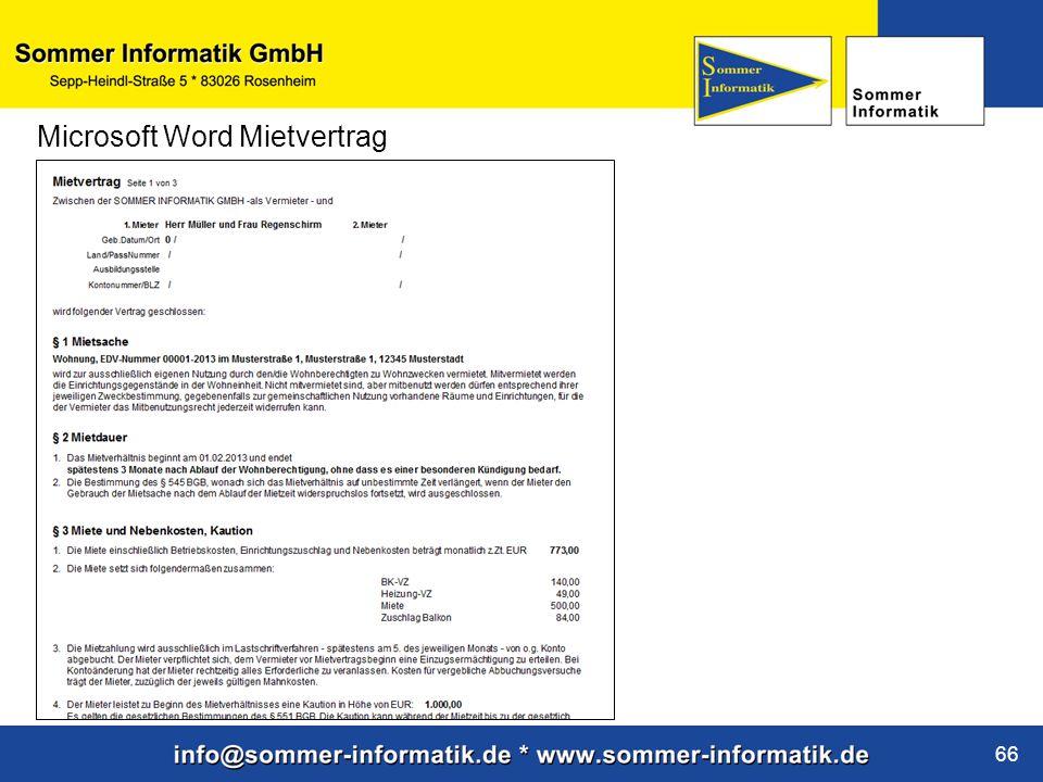 Microsoft Word Mietvertrag