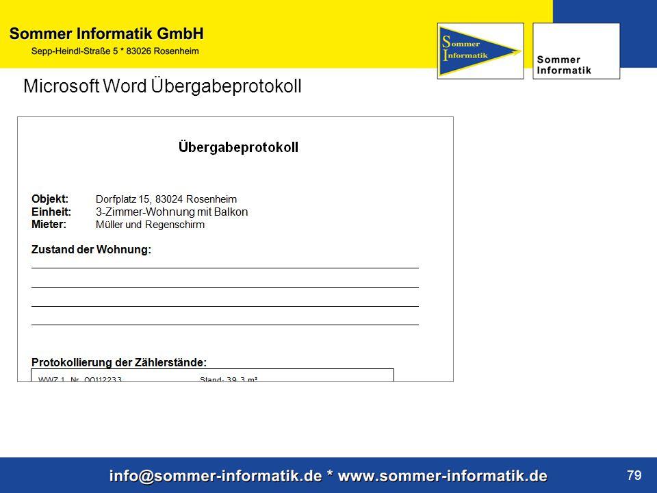 Microsoft Word Übergabeprotokoll