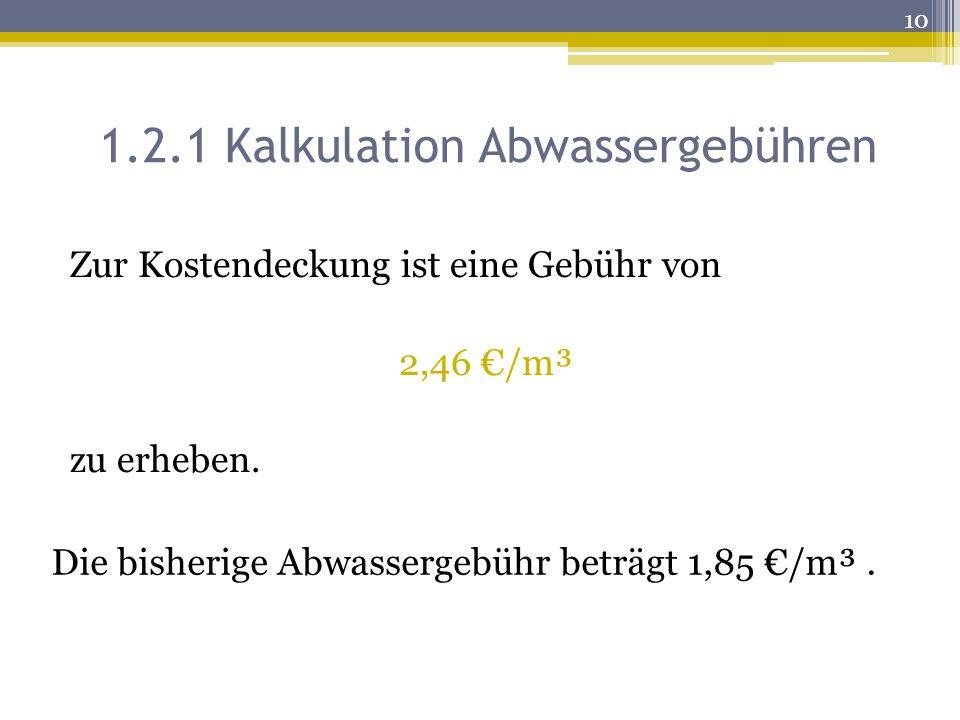 1.2.1 Kalkulation Abwassergebühren
