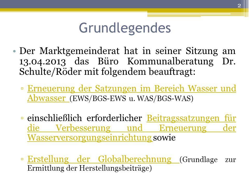 Grundlegendes Der Marktgemeinderat hat in seiner Sitzung am 13.04.2013 das Büro Kommunalberatung Dr. Schulte/Röder mit folgendem beauftragt: