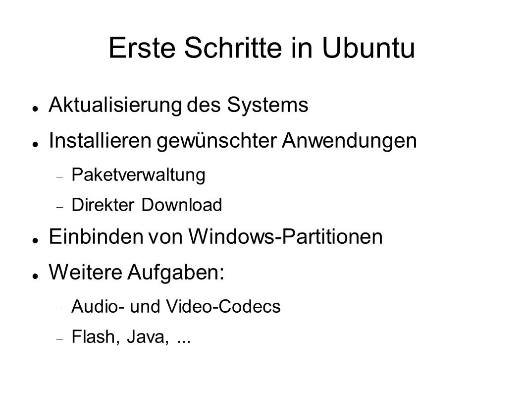 Erste Schritte in Ubuntu
