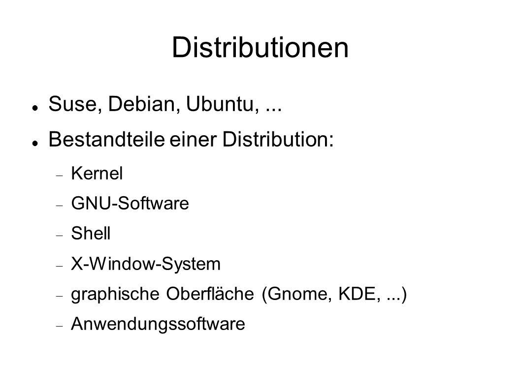 Distributionen Suse, Debian, Ubuntu, ...