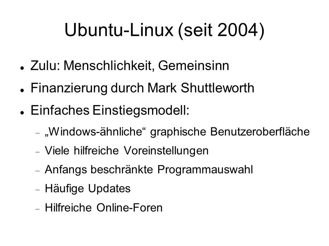 Ubuntu-Linux (seit 2004) Zulu: Menschlichkeit, Gemeinsinn
