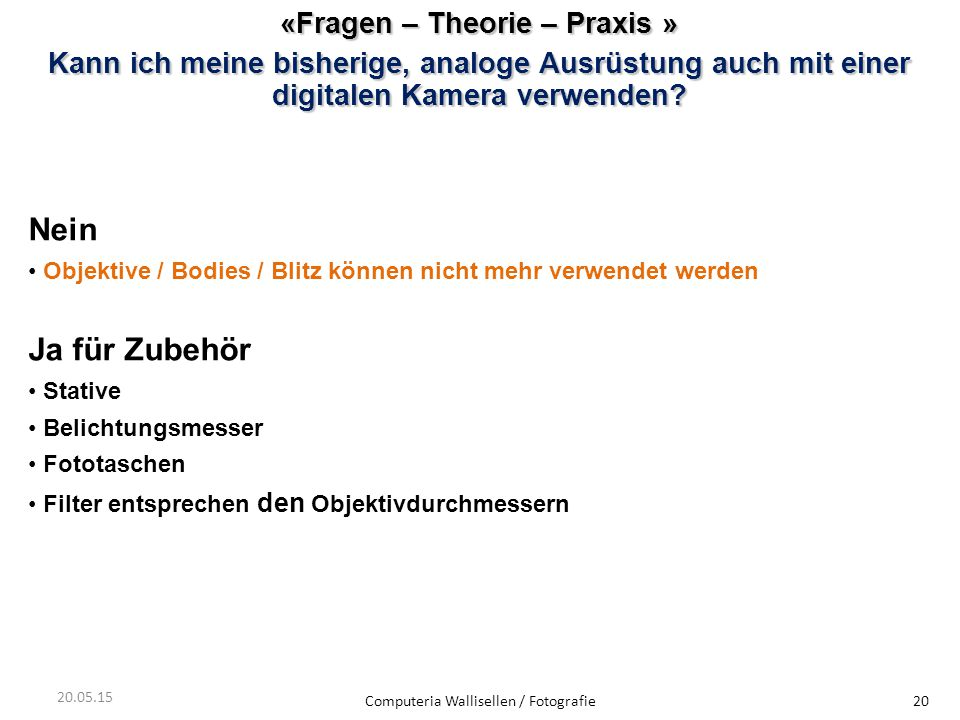 «Fragen – Theorie – Praxis »