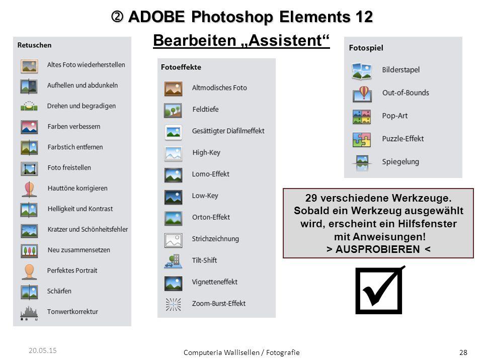 "  ADOBE Photoshop Elements 12 Bearbeiten ""Assistent"