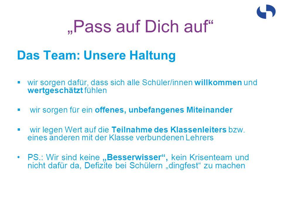 """""""Pass auf Dich auf Das Team: Unsere Haltung"""