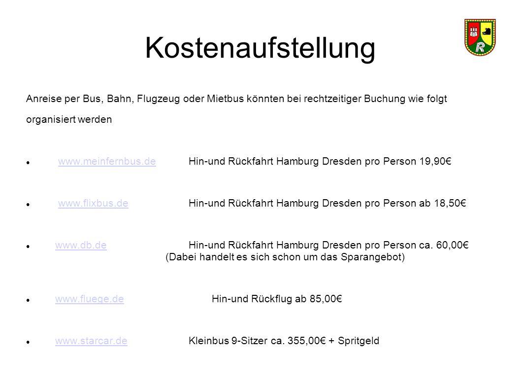 Kostenaufstellung Anreise per Bus, Bahn, Flugzeug oder Mietbus könnten bei rechtzeitiger Buchung wie folgt.