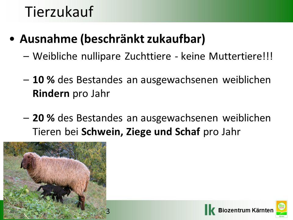 Tierzukauf Ausnahme (beschränkt zukaufbar)
