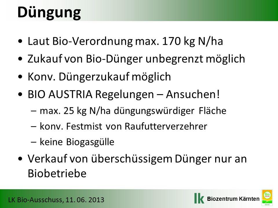 Düngung Laut Bio-Verordnung max. 170 kg N/ha
