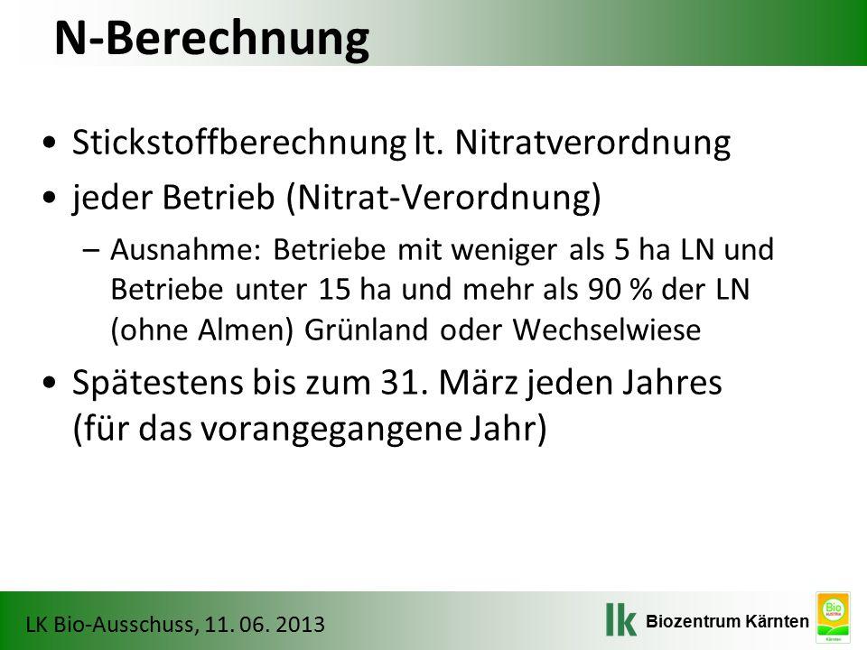 N-Berechnung Stickstoffberechnung lt. Nitratverordnung