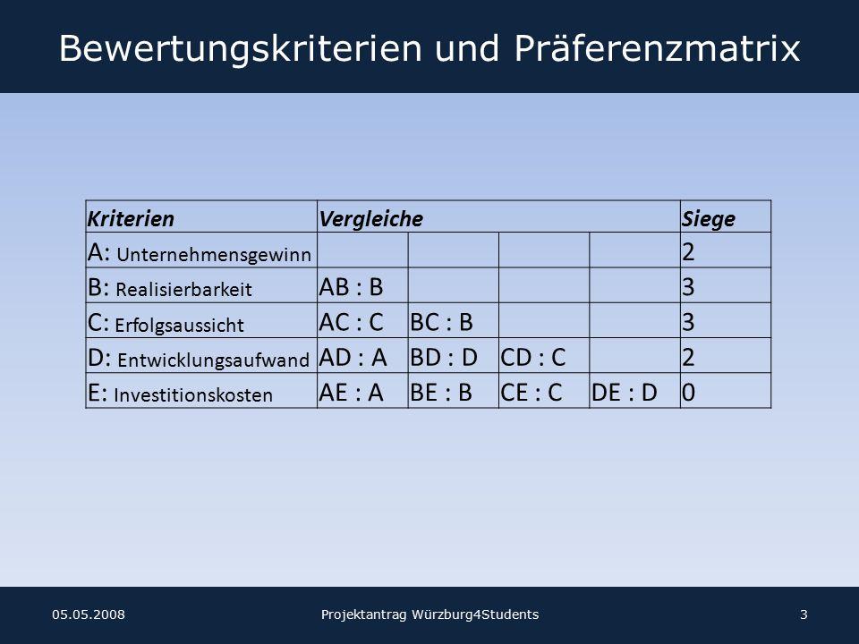 Bewertungskriterien und Präferenzmatrix