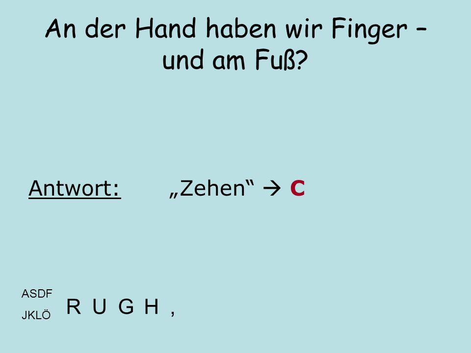 An der Hand haben wir Finger – und am Fuß