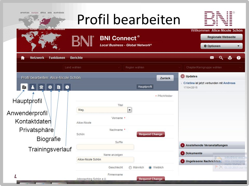 Profil bearbeiten Hauptprofil Anwenderprofil Kontaktdaten Privatsphäre