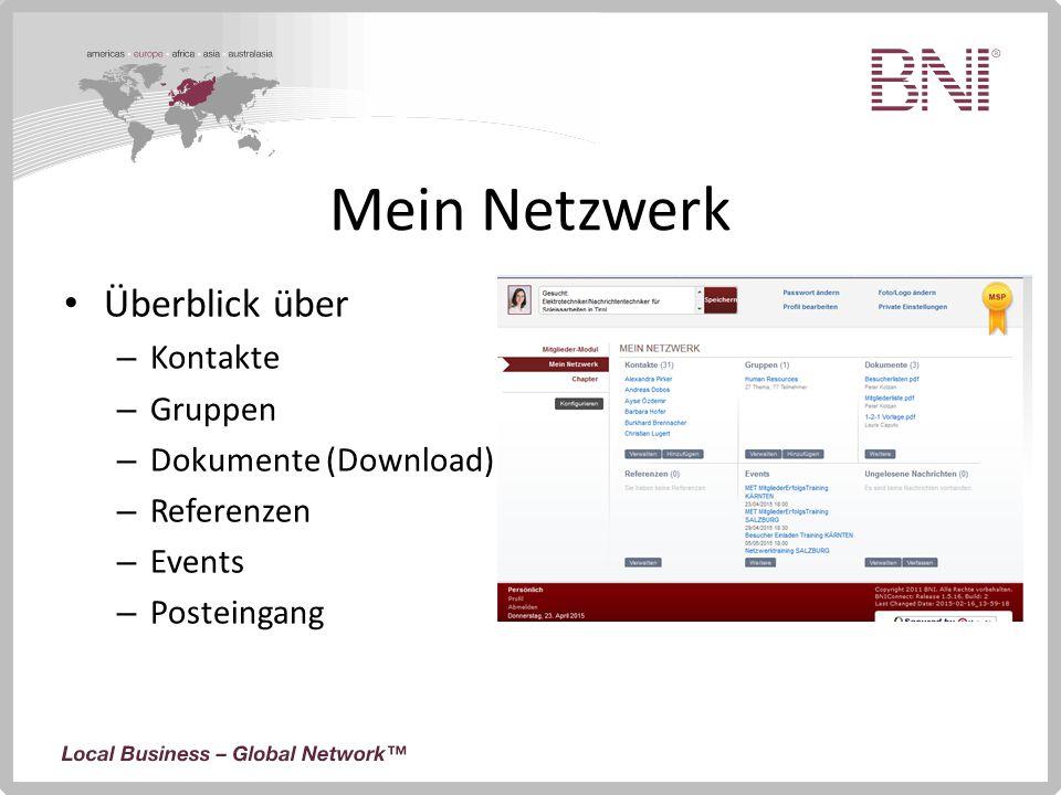 Mein Netzwerk Überblick über Kontakte Gruppen Dokumente (Download)