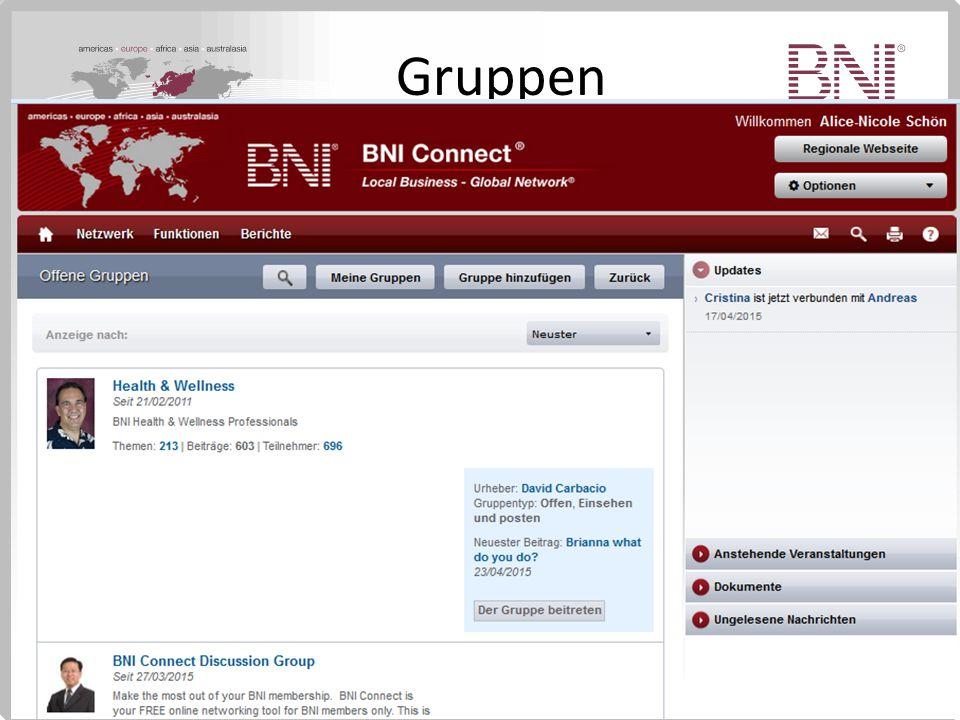 Gruppen Diskutiere über bestimmte Themenbereiche mit BNI Mitgliedern weltweit.