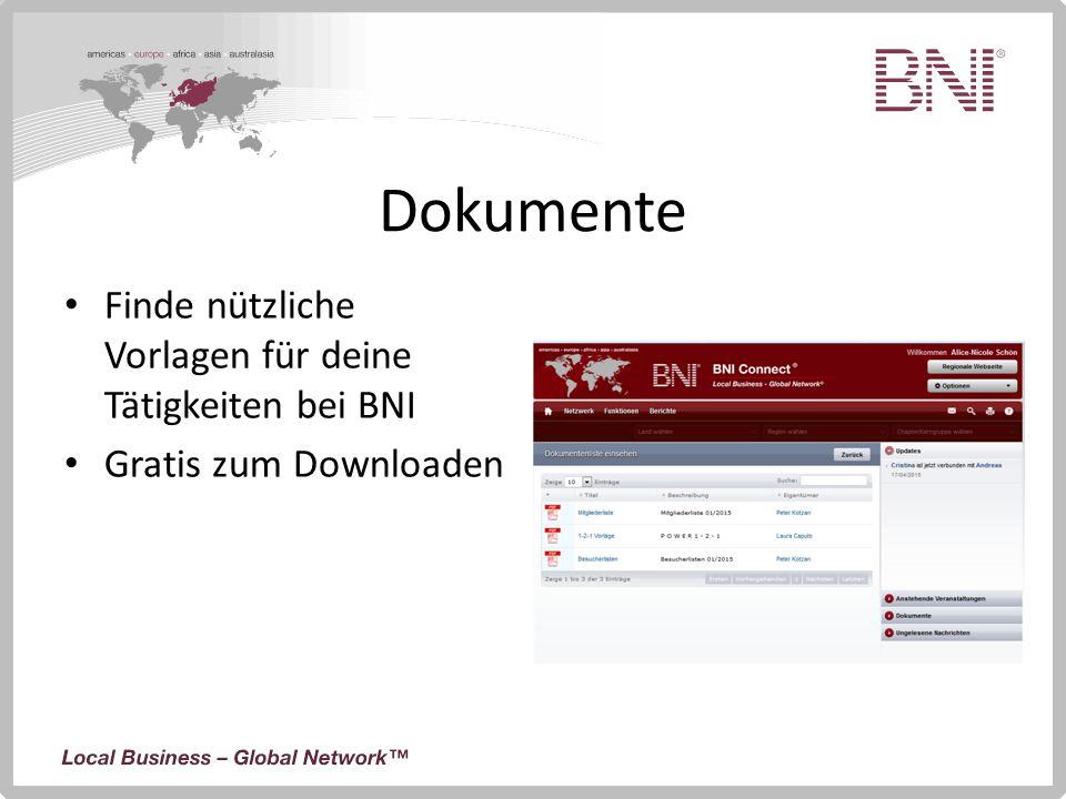 Dokumente Finde nützliche Vorlagen für deine Tätigkeiten bei BNI