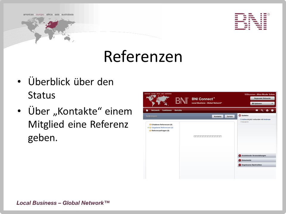 Referenzen Überblick über den Status