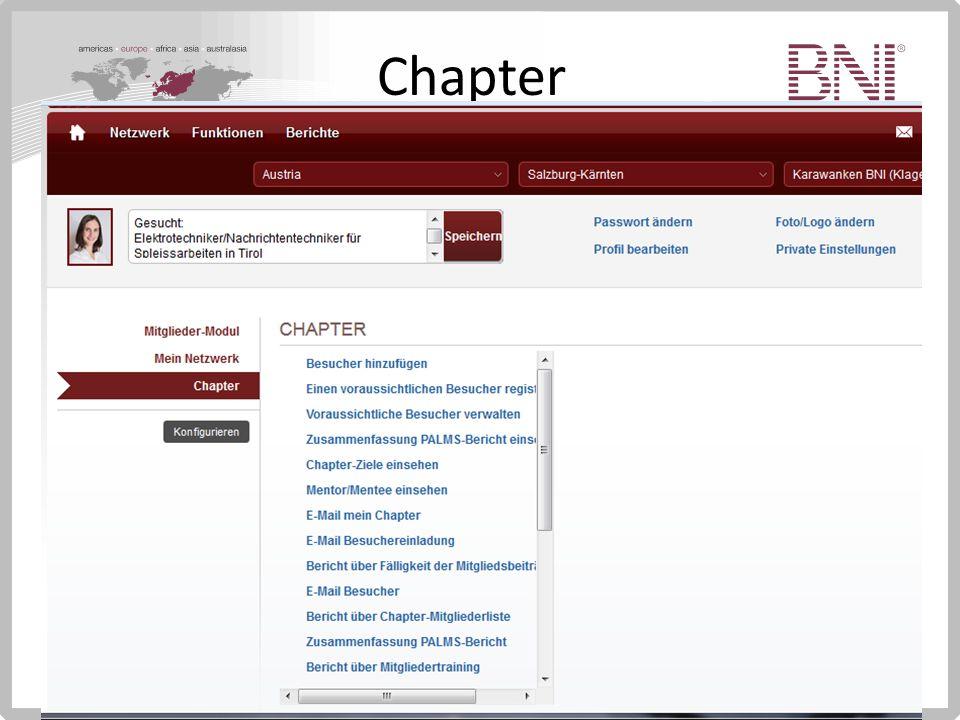 Chapter Zusatzfunktionen Einsehen PALMS Bericht des Chapters