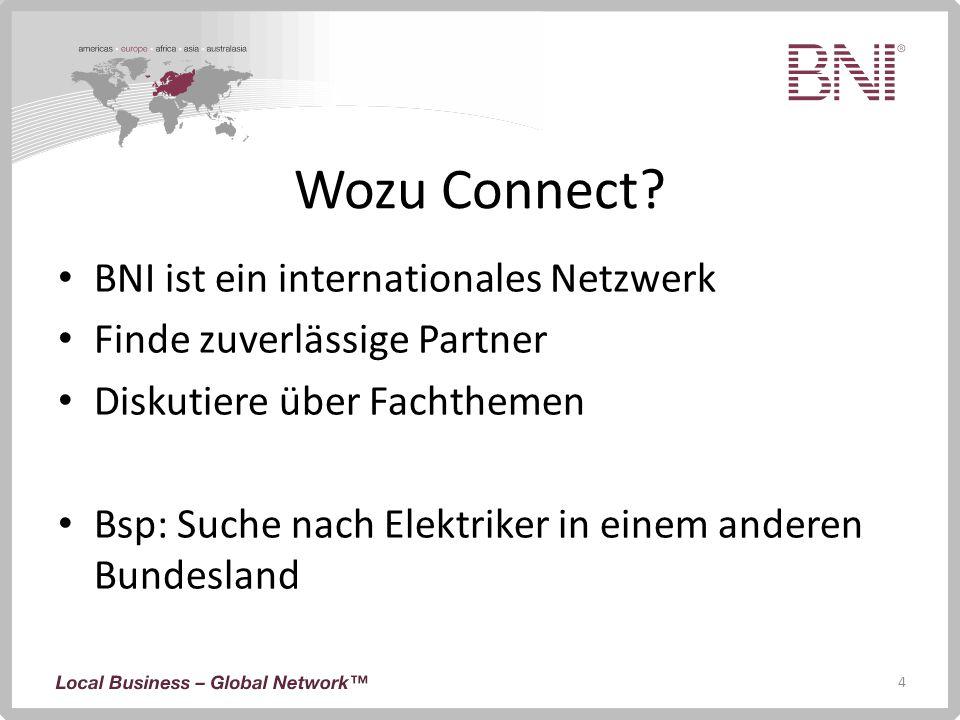 Wozu Connect BNI ist ein internationales Netzwerk