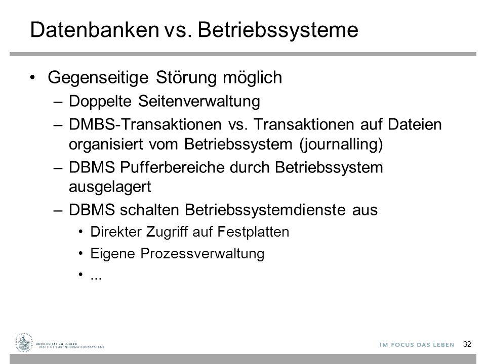 Datenbanken vs. Betriebssysteme