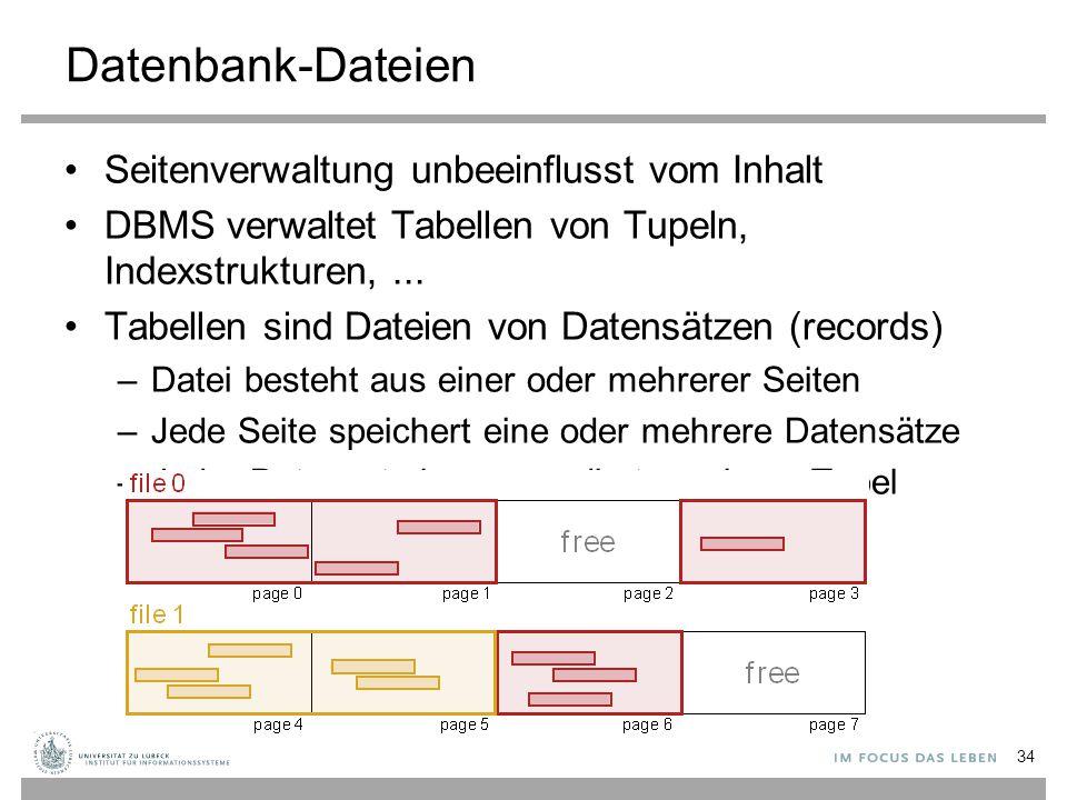 Datenbank-Dateien Seitenverwaltung unbeeinflusst vom Inhalt