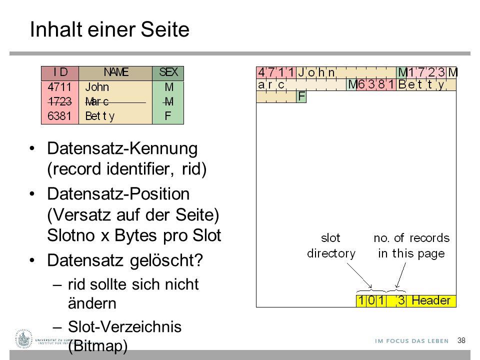 Inhalt einer Seite Datensatz-Kennung (record identifier, rid)