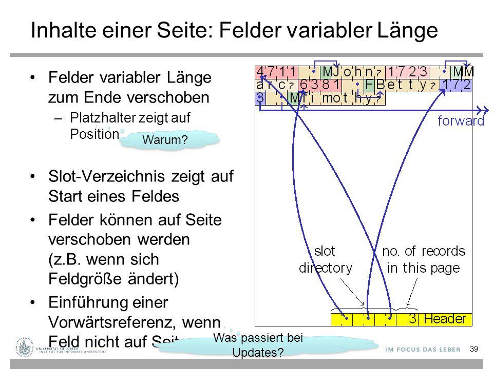 Inhalte einer Seite: Felder variabler Länge