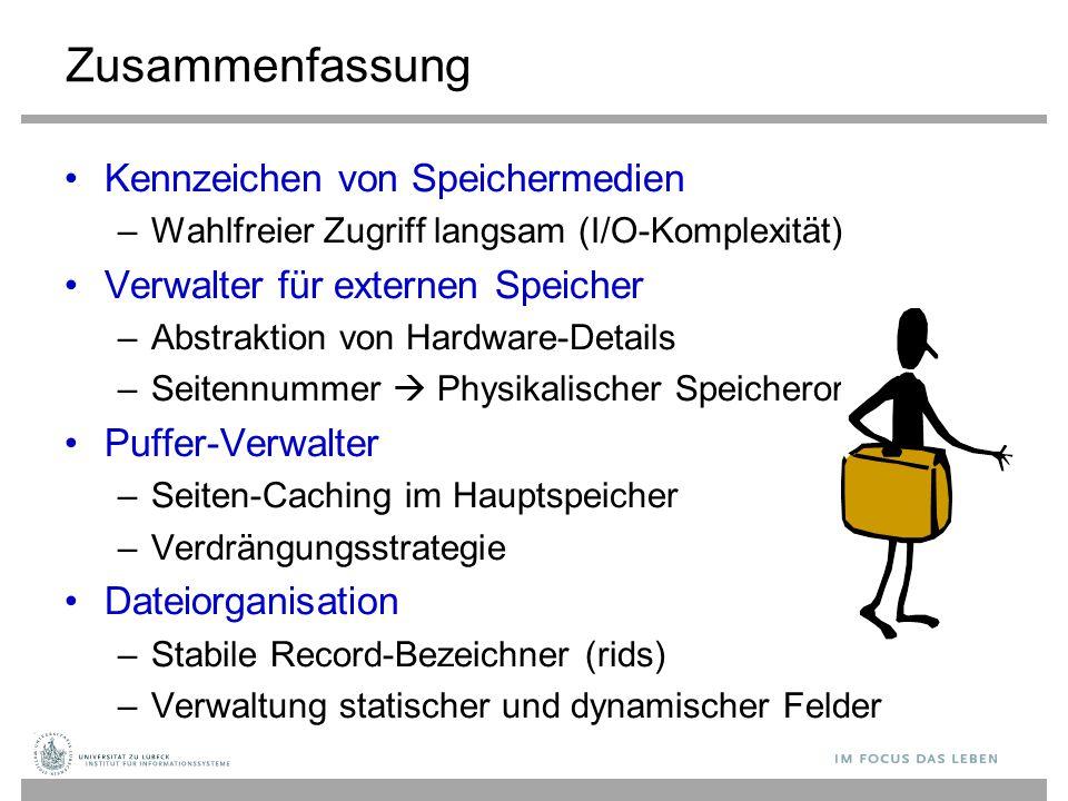 Zusammenfassung Kennzeichen von Speichermedien