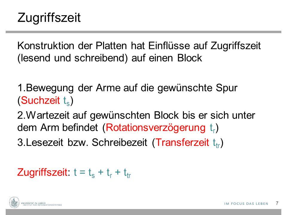Zugriffszeit Konstruktion der Platten hat Einflüsse auf Zugriffszeit (lesend und schreibend) auf einen Block.