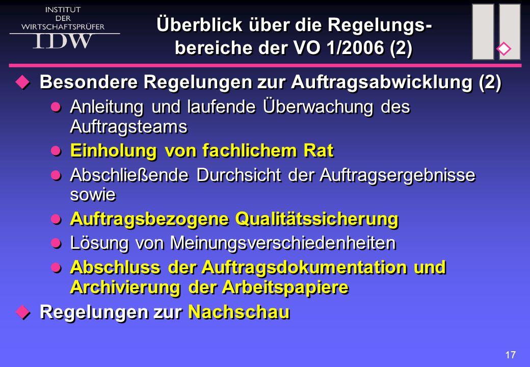 Überblick über die Regelungs-bereiche der VO 1/2006 (2)
