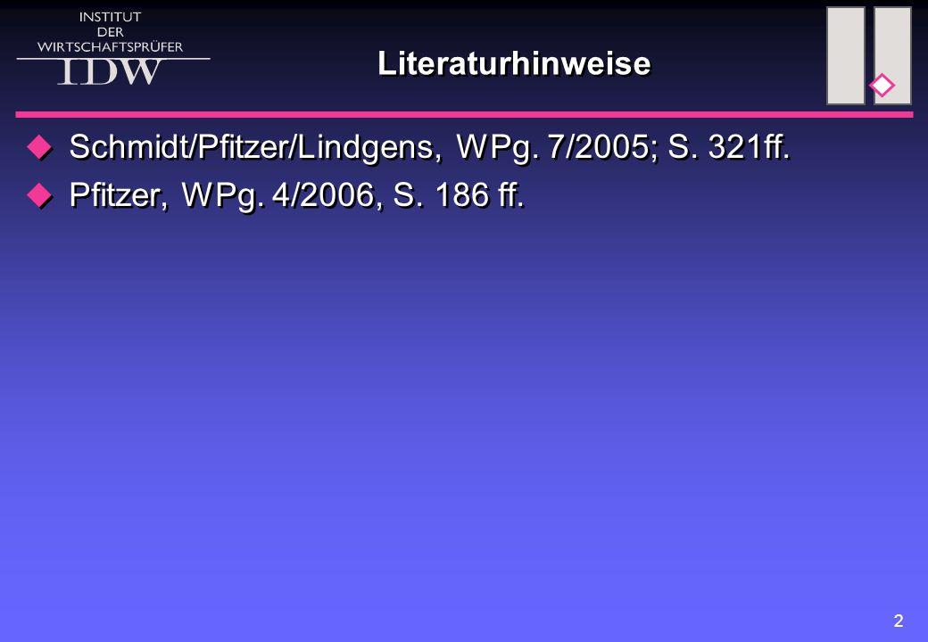 Literaturhinweise Schmidt/Pfitzer/Lindgens, WPg. 7/2005; S. 321ff. Pfitzer, WPg. 4/2006, S. 186 ff.