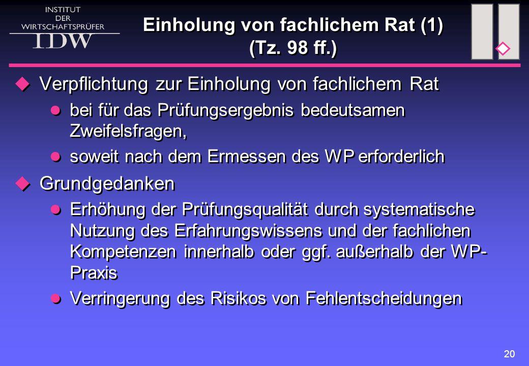 Einholung von fachlichem Rat (1) (Tz. 98 ff.)