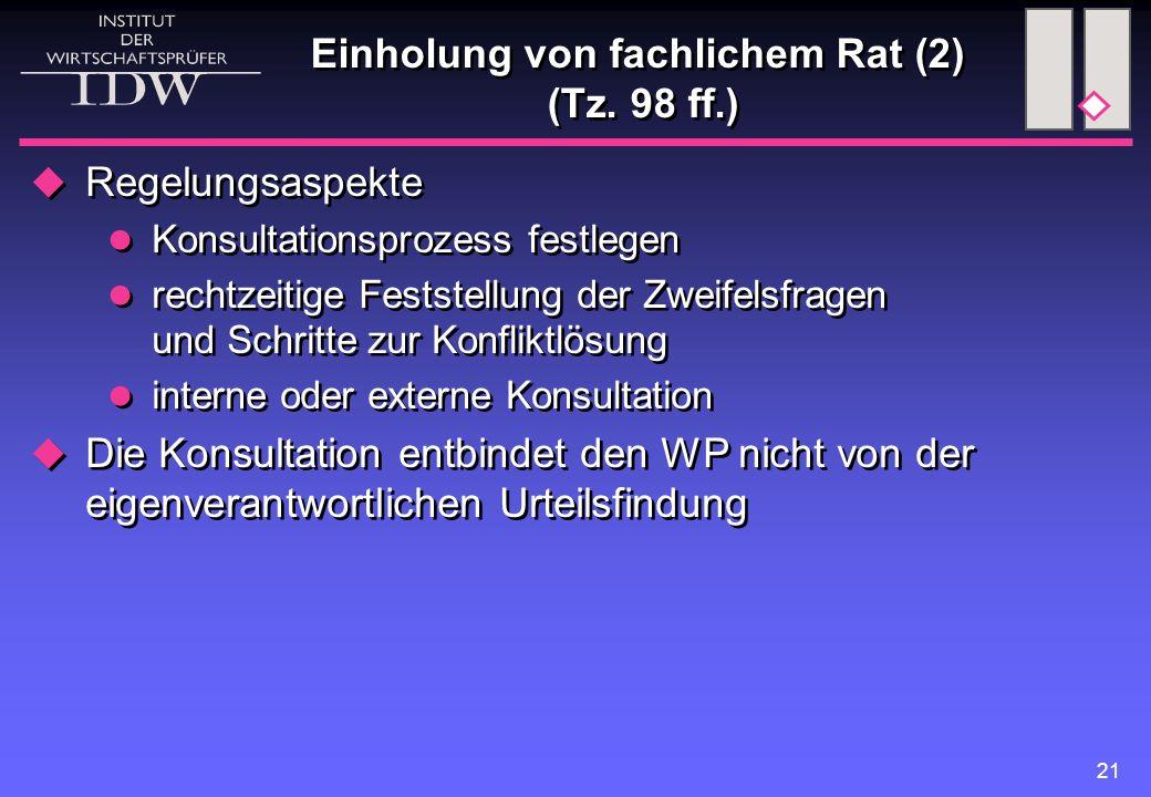 Einholung von fachlichem Rat (2) (Tz. 98 ff.)