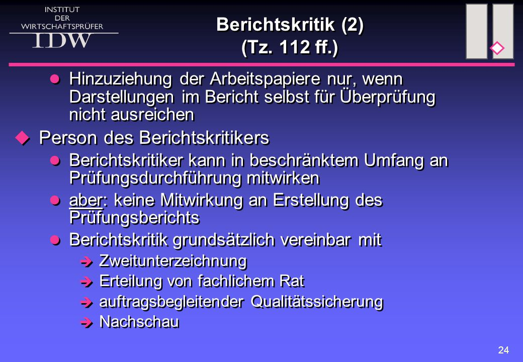 Berichtskritik (2) (Tz. 112 ff.)