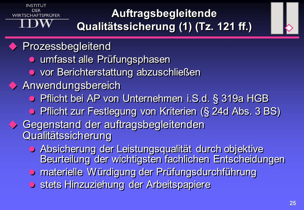 Auftragsbegleitende Qualitätssicherung (1) (Tz. 121 ff.)