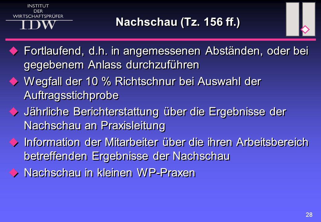 Nachschau (Tz. 156 ff.) Fortlaufend, d.h. in angemessenen Abständen, oder bei gegebenem Anlass durchzuführen.