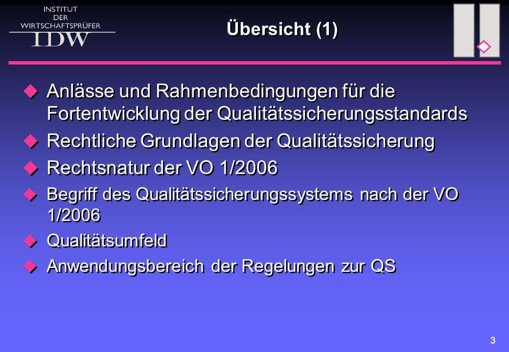 Rechtliche Grundlagen der Qualitätssicherung Rechtsnatur der VO 1/2006