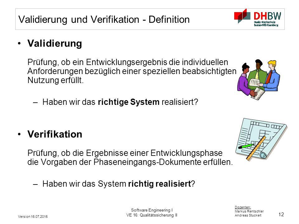 Validierung und Verifikation - Definition