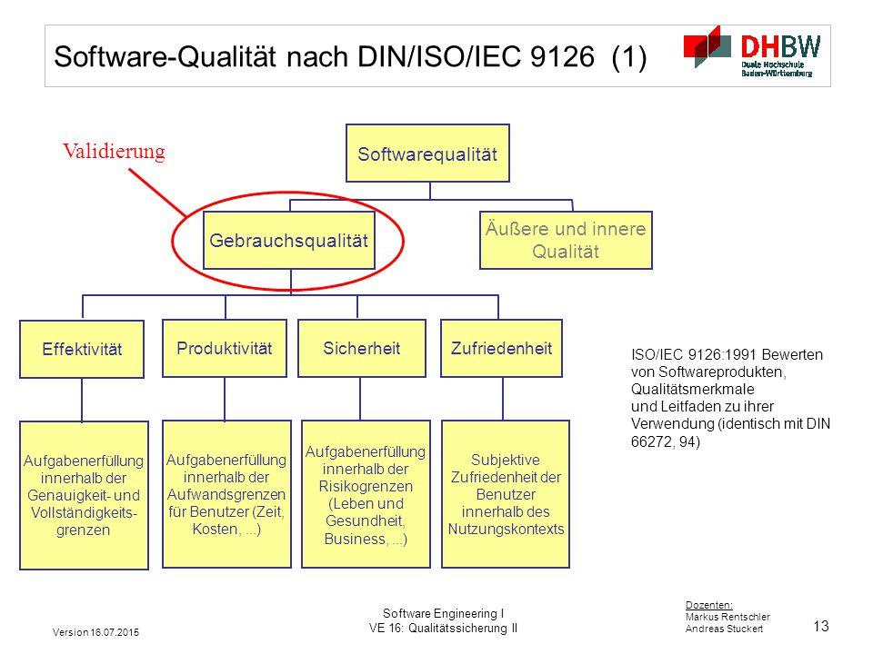 Software-Qualität nach DIN/ISO/IEC 9126 (1)