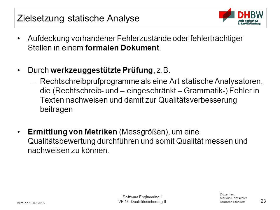 Zielsetzung statische Analyse