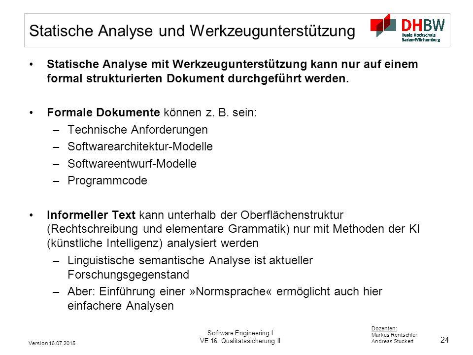 Statische Analyse und Werkzeugunterstützung