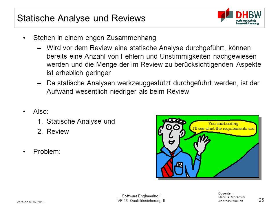 Statische Analyse und Reviews