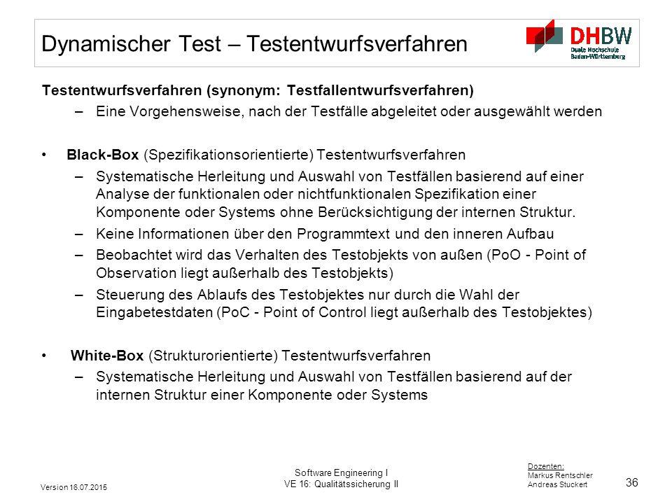 Dynamischer Test – Testentwurfsverfahren