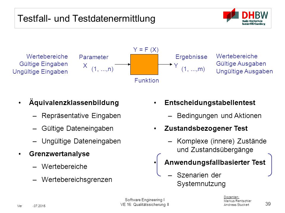 Testfall- und Testdatenermittlung