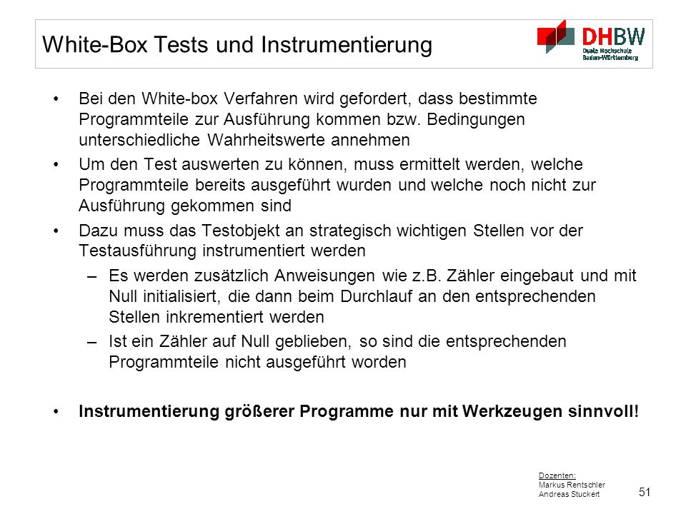 White-Box Tests und Instrumentierung