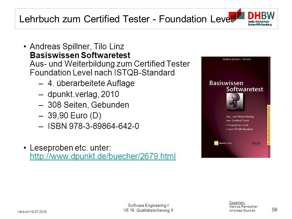 Lehrbuch zum Certified Tester - Foundation Level