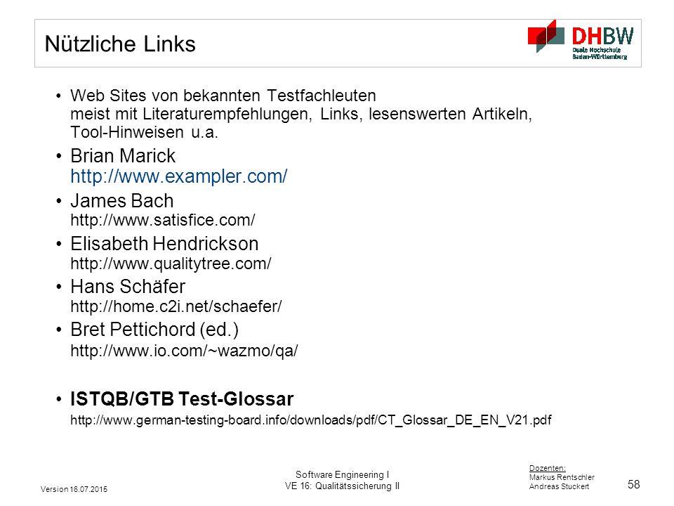 Nützliche Links Brian Marick http://www.exampler.com/