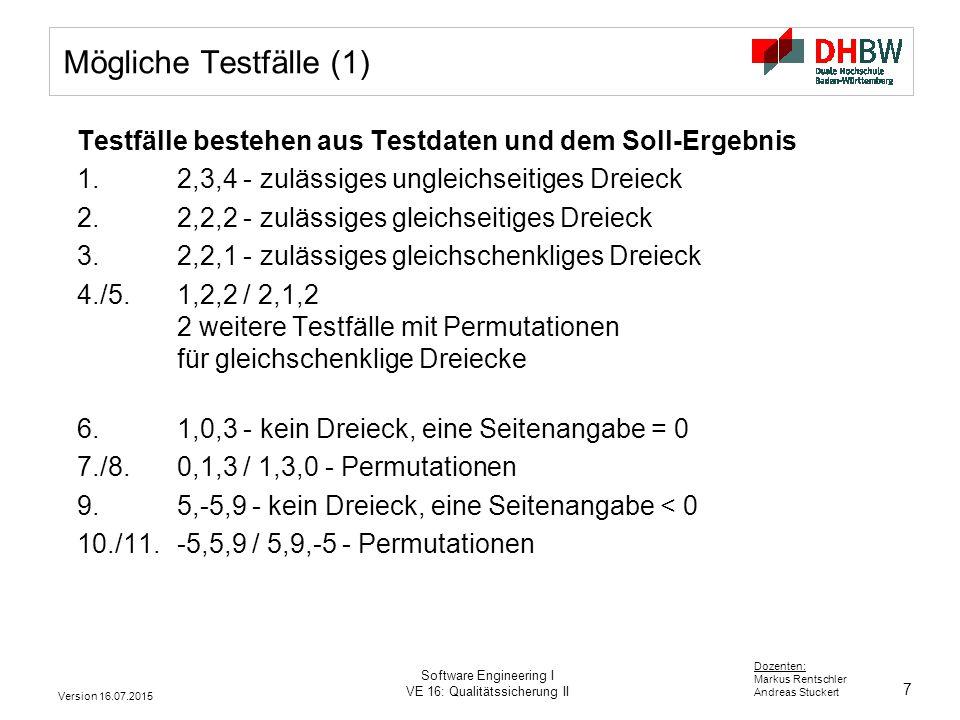 Mögliche Testfälle (1) Testfälle bestehen aus Testdaten und dem Soll-Ergebnis. 1. 2,3,4 - zulässiges ungleichseitiges Dreieck.