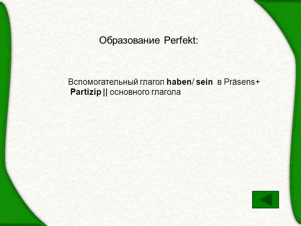 Образование Perfekt: Вспомогательный глагол haben/ sein в Präsens+